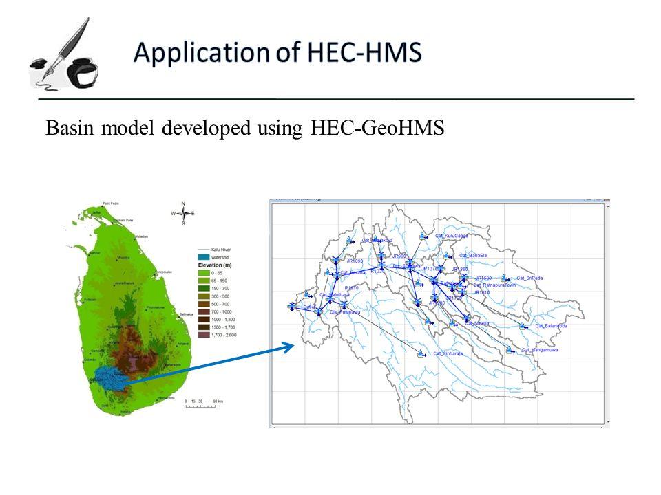 Basin model developed using HEC-GeoHMS