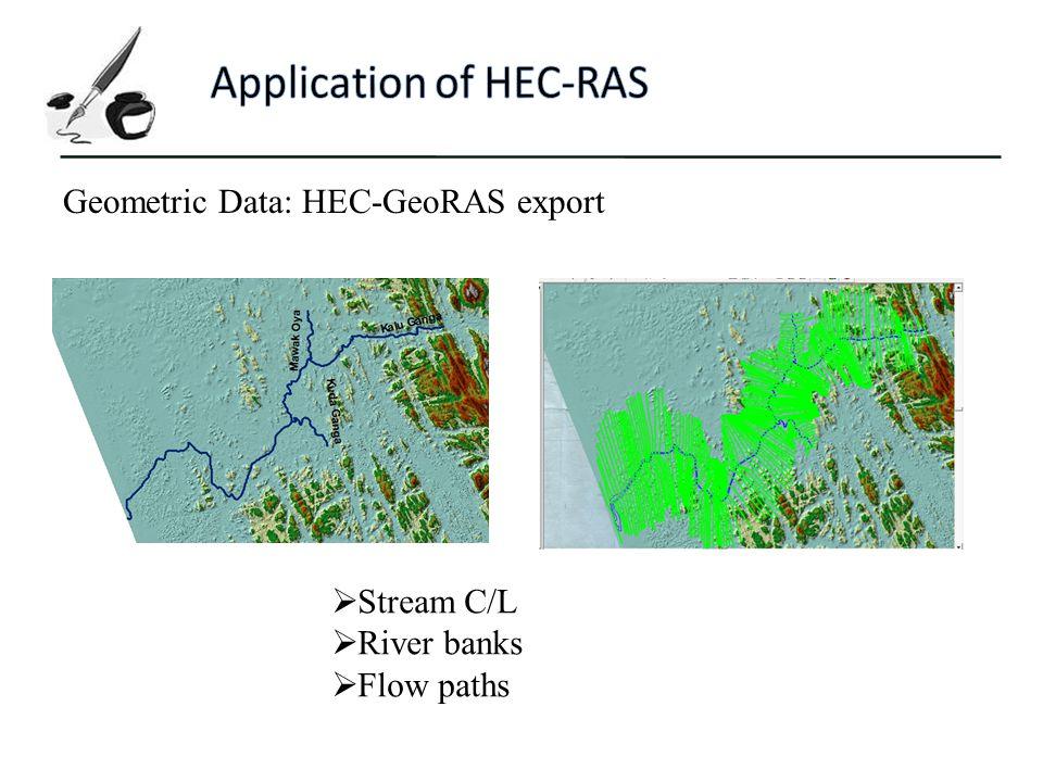 Geometric Data: HEC-GeoRAS export  Stream C/L  River banks  Flow paths