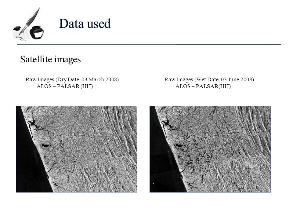 Raw Images (Dry Date, 03 March,2008) ALOS – PALSAR (HH) Raw Images (Wet Date, 03 June,2008) ALOS – PALSAR(HH) Satellite images