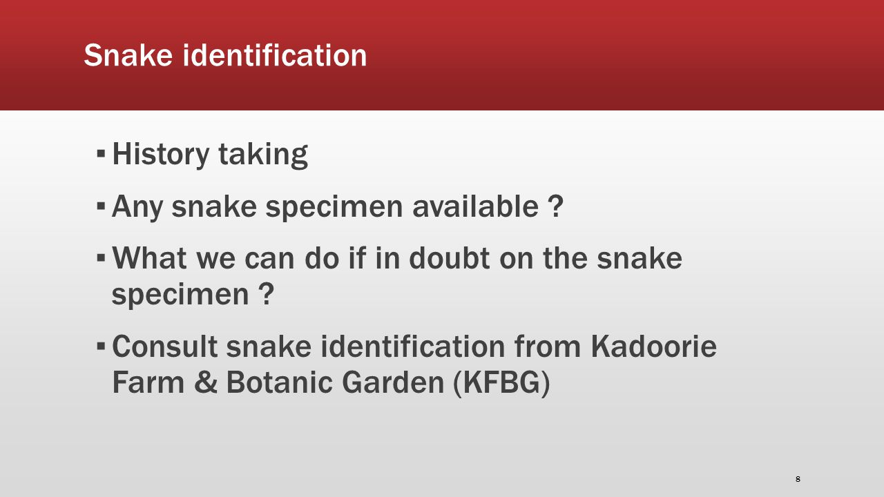 Snake identification ▪ History taking ▪ Any snake specimen available .
