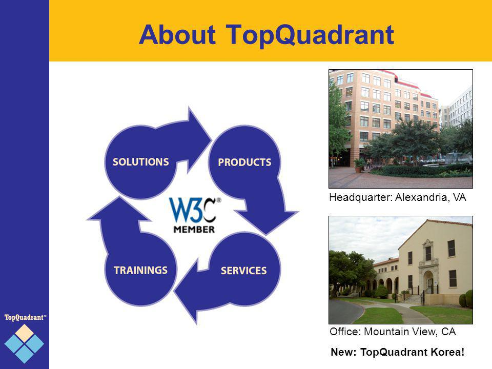 About TopQuadrant Headquarter: Alexandria, VA Office: Mountain View, CA New: TopQuadrant Korea!