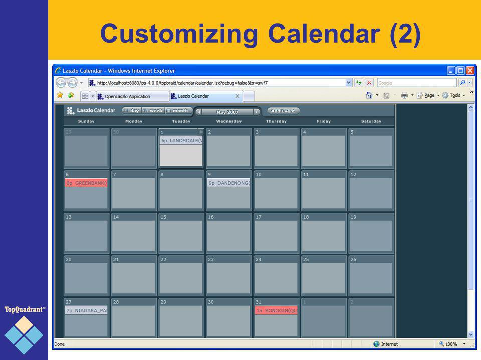 Generic UI Components Forms (domains, ranges, restrictions) Geography (geo:long/lat, mapmodel) Visual Graphs Calendar (calendar:priority) SPARQL table / Search form BIRT Reports Domain-specific widgets (address) Other reusable building blocks