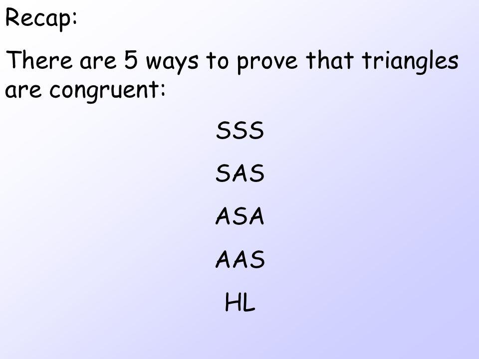 Examples A B C D B is the midpoint of AC SAS  ABD  CBD K J L N M H AAS  MLN  HJK S: AB  BC A:  ABD   CBD S: DB  DB A:  L   J A:  M   H S: LN  JK