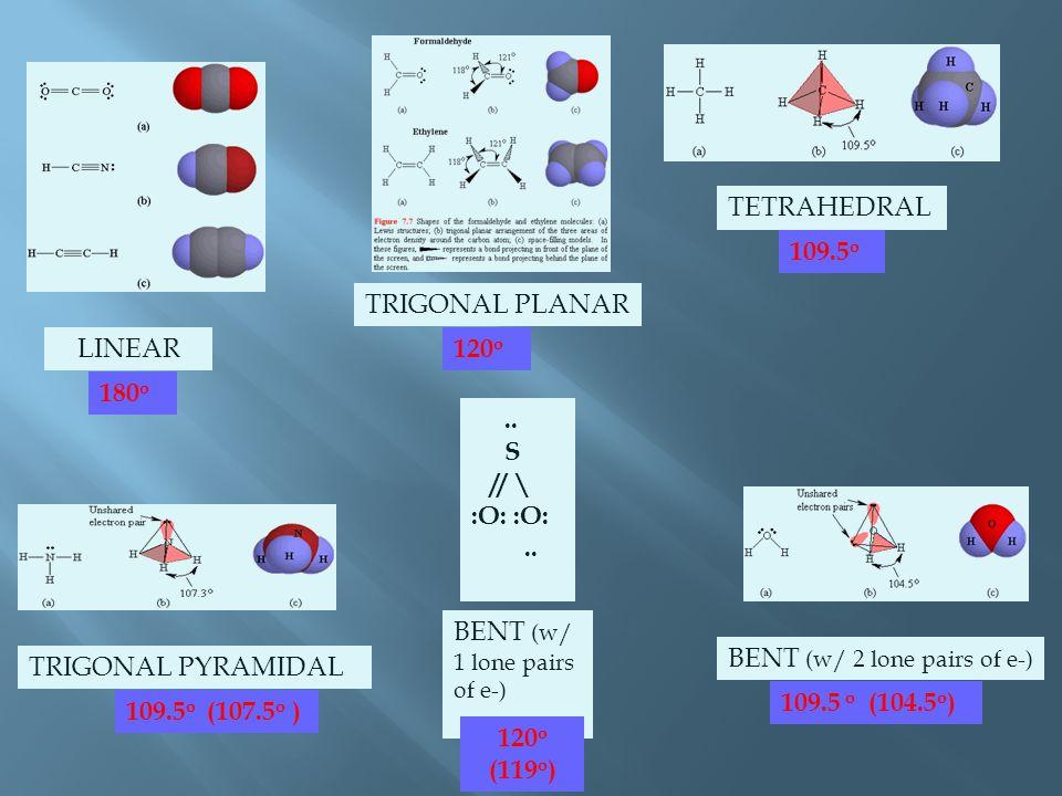 LINEAR TRIGONAL PLANAR TETRAHEDRAL BENT (w/ 2 lone pairs of e-) TRIGONAL PYRAMIDAL.. S // \ :O:.. BENT (w/ 1 lone pairs of e-) 180 o 120 o 109.5 o 109