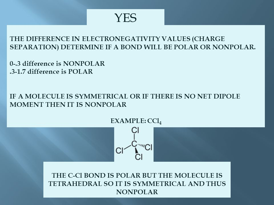 THE DIFFERENCE IN ELECTRONEGATIVITY VALUES (CHARGE SEPARATION) DETERMINE IF A BOND WILL BE POLAR OR NONPOLAR.