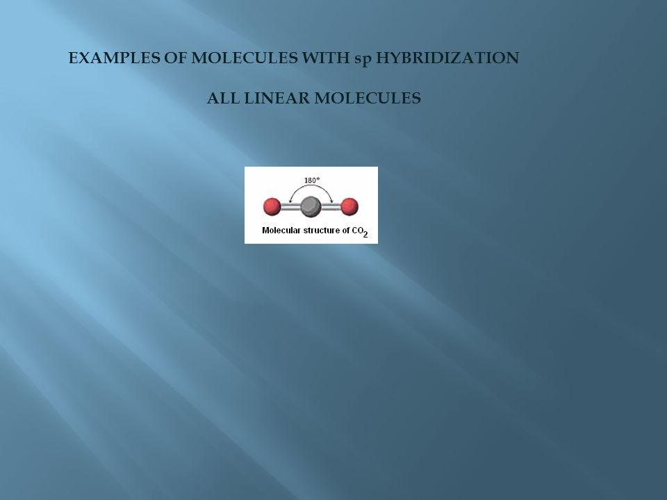 EXAMPLES OF MOLECULES WITH sp HYBRIDIZATION ALL LINEAR MOLECULES