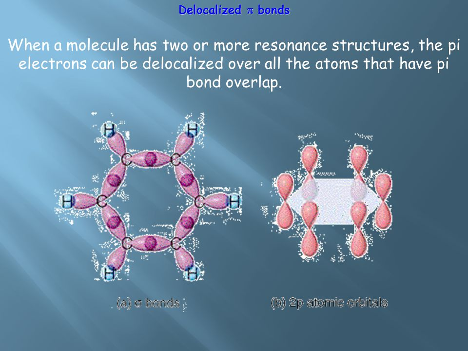 Delocalized  bonds When a molecule has two or more resonance structures, the pi electrons can be delocalized over all the atoms that have pi bond overlap.