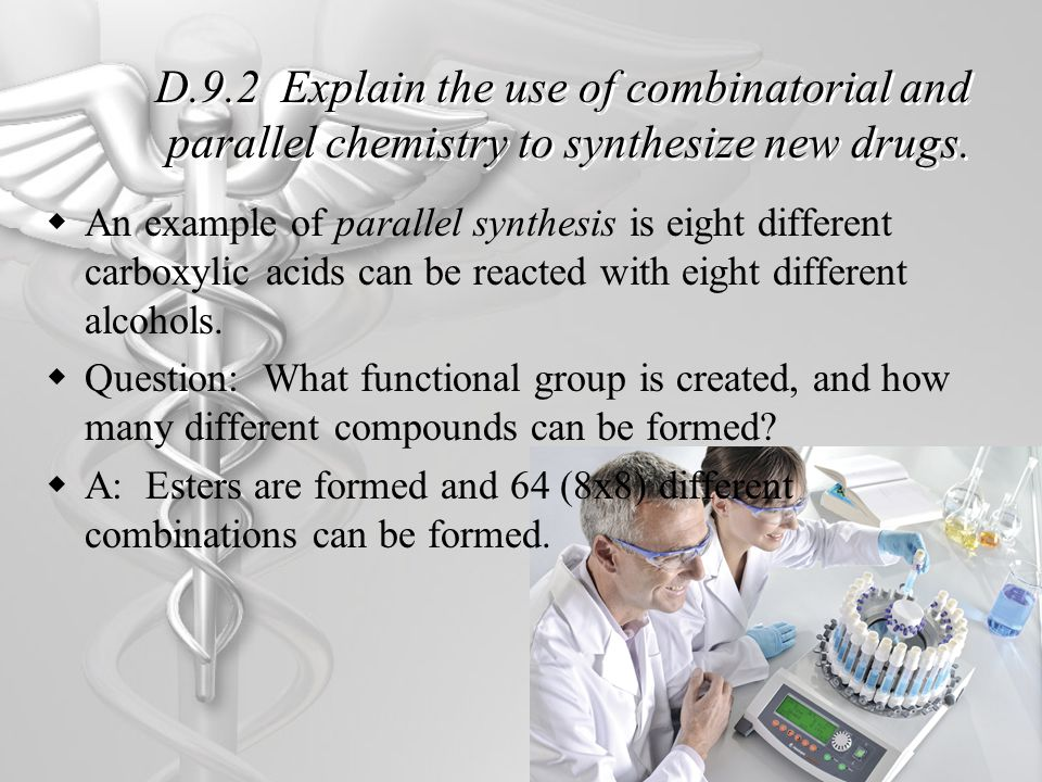 D.9.2 Explain the use of combinatorial and parallel chemistry to synthesize new drugs.