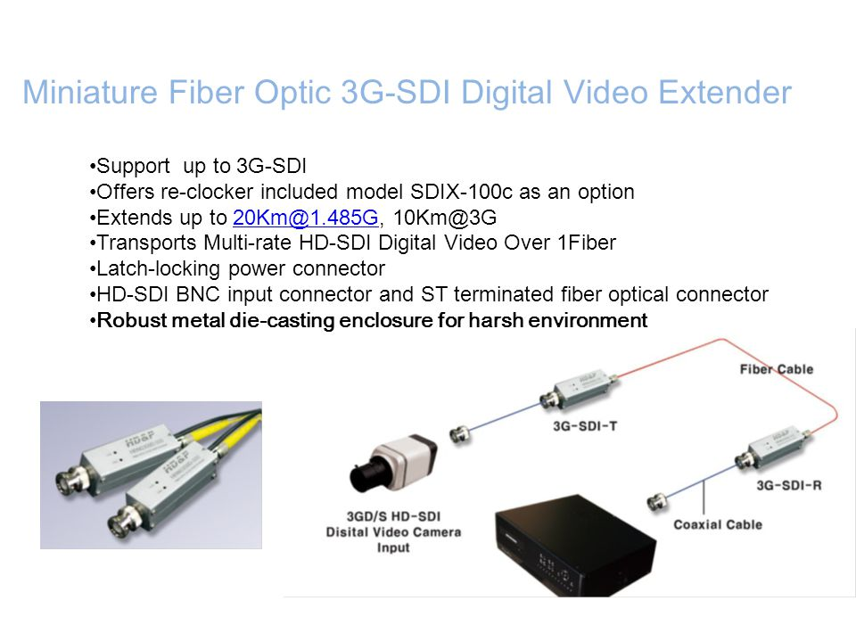 Support up to 3G-SDI Offers re-clocker included model SDIX-100c as an option Extends up to 20Km@1.485G, 10Km@3G20Km@1.485G Transports Multi-rate HD-SD