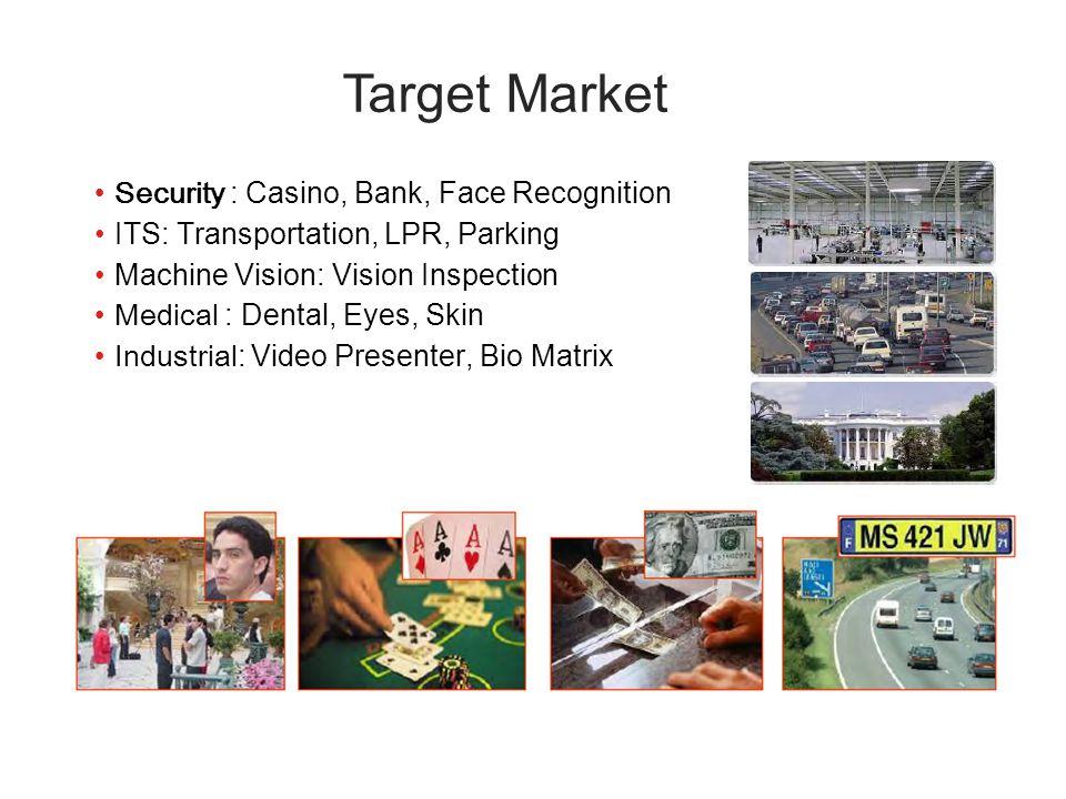 Security : Casino, Bank, Face Recognition ITS: Transportation, LPR, Parking Machine Vision: Vision Inspection Medical : Dental, Eyes, Skin Industrial: Video Presenter, Bio Matrix Target Market