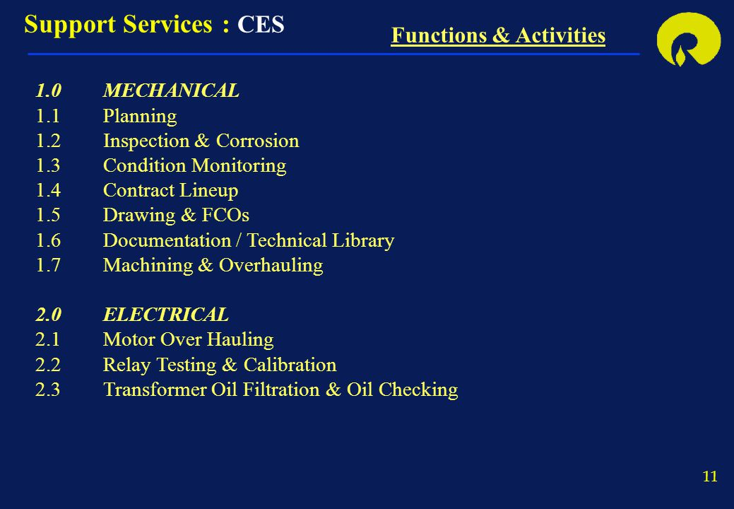 11 Support Services : CES Functions & Activities 1.0MECHANICAL 1.1Planning 1.2Inspection & Corrosion 1.3Condition Monitoring 1.4Contract Lineup 1.5Dra