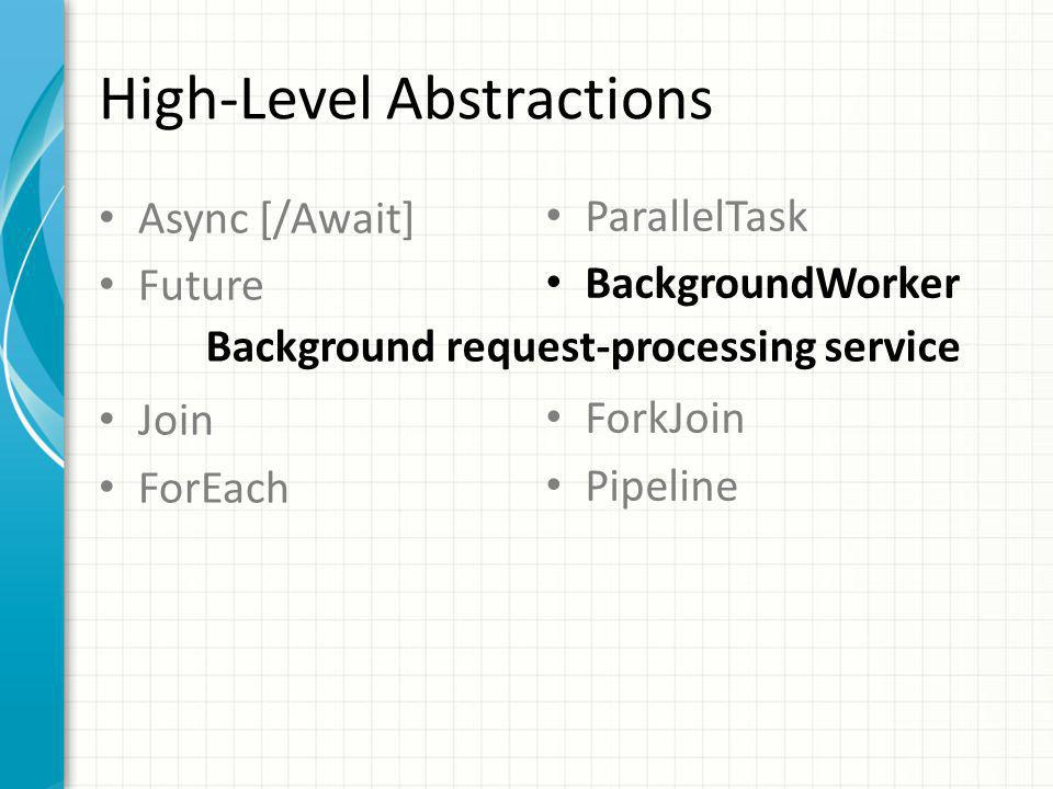 High-Level Abstractions Async [/Await] Future Join ForEach ParallelTask BackgroundWorker ForkJoin Pipeline Background request-processing service