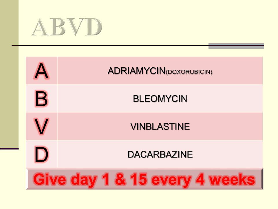 ADRIAMYCIN (DOXORUBICIN) BLEOMYCIN VINBLASTINE DACARBAZINE