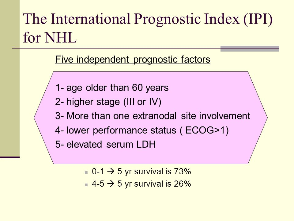 The International Prognostic Index (IPI) for NHL Five independent prognostic factors 1- age older than 60 years 2- higher stage (III or IV) 3- More th