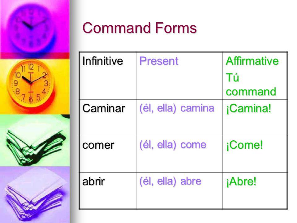 Command Forms InfinitivePresentAffirmative Tú command Caminar (él, ella) camina ¡Camina! comer (él, ella) come ¡Come! abrir (él, ella) abre ¡Abre!