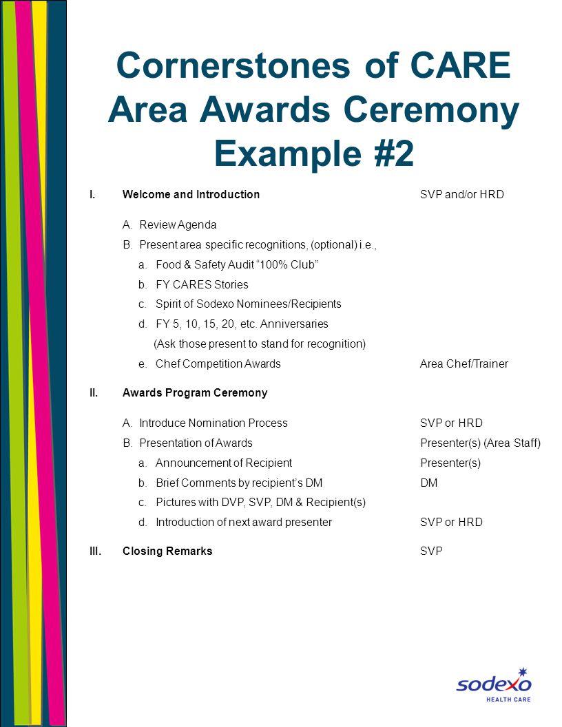 Cornerstones of CARE Area Awards Script Sample 1.