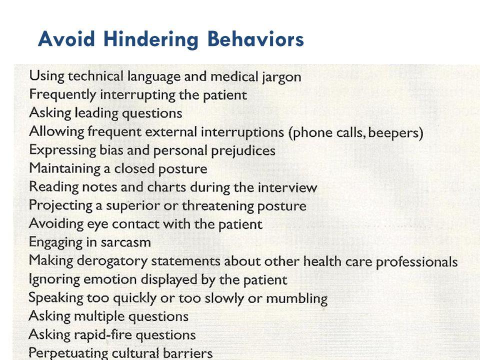 Avoid Hindering Behaviors 30