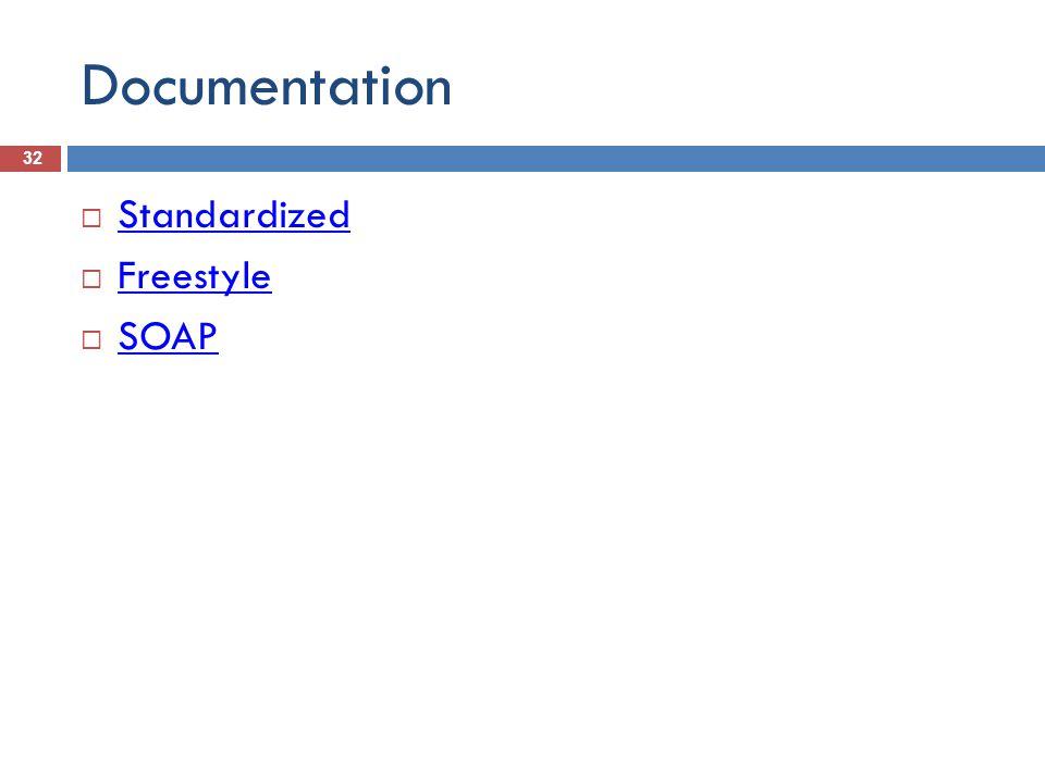 Documentation 32  Standardized Standardized  Freestyle Freestyle  SOAP SOAP