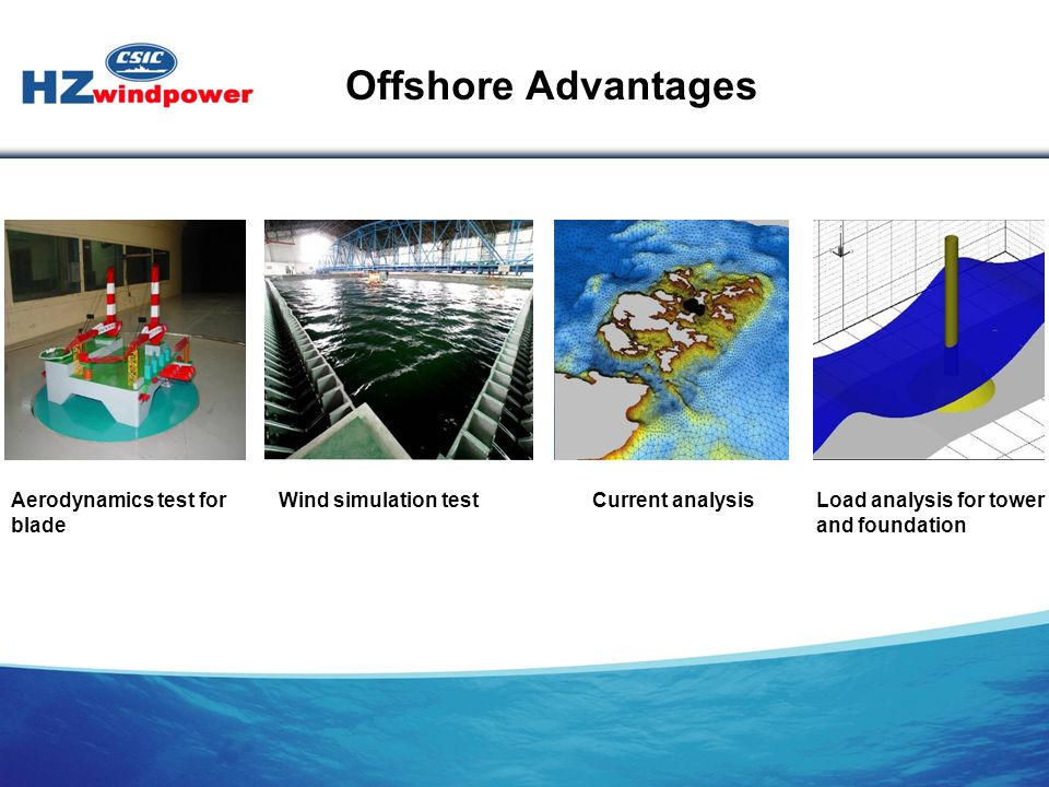 Aerodynamics test for blade Wind simulation test Current analysisLoad analysis for tower and foundation Offshore Advantages
