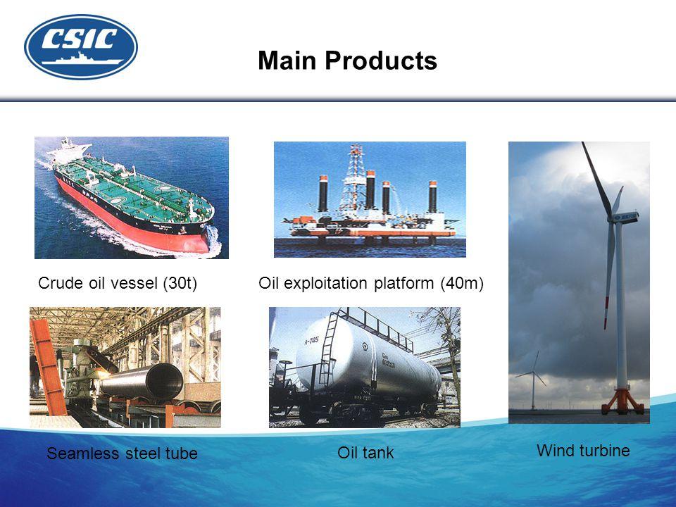 Crude oil vessel (30t) Oil exploitation platform (40m) Seamless steel tube Oil tank Wind turbine Main Products