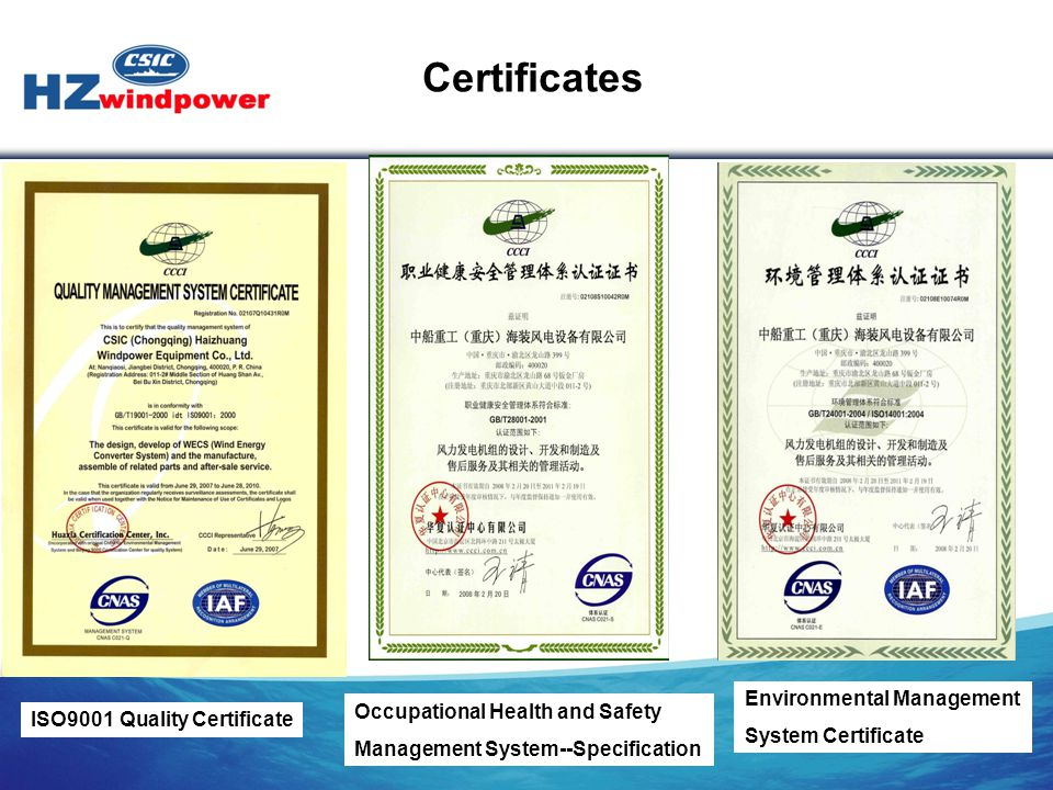 ISO9001 Quality Certificate Occupational Health and Safety Management System--Specification Environmental Management System Certificate Certificates