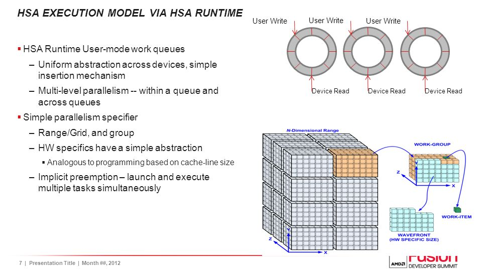 8| Presentation Title | Month ##, 2012 HSA MEMORY MODEL VIA HSA RUNTIME  Key concepts –Simplified view of memory –Sharing pointers across devices is possible  makes it possible to run a task on a any device  Possible to use pointers and data structures that require pointer chasing correctly across device boundaries –Relaxed consistency memory model  Acquire/release  Barriers  HSA Runtime exposes allocation interfaces with control over memory attributes –Types of memories can be mixed and matched based on usage needs  Simplified launches – dispatch(task, arg1, arg2, …) –Run device tasks with stack memory