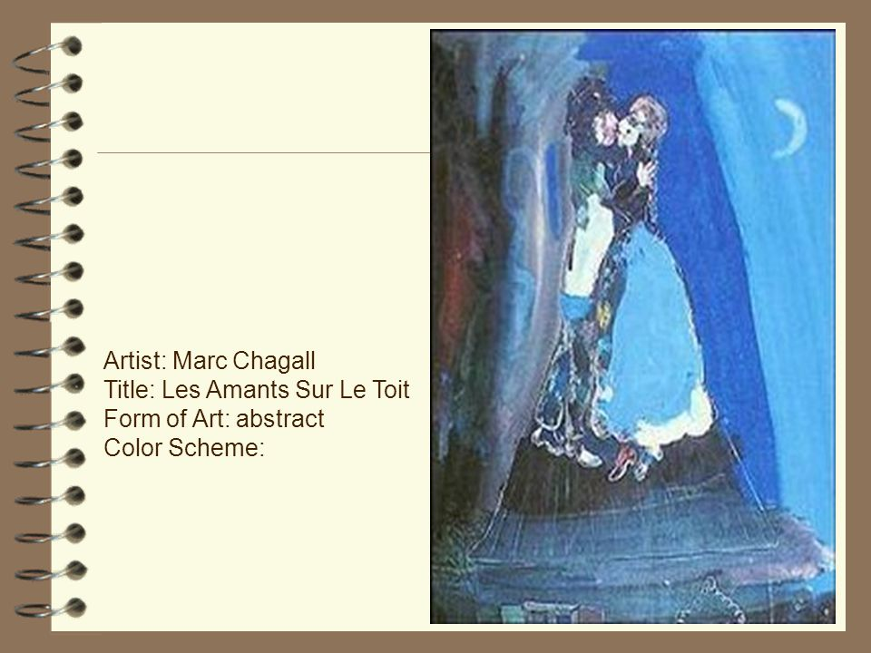 Artist: Marc Chagall Title: Les Amants Sur Le Toit Form of Art: abstract Color Scheme: