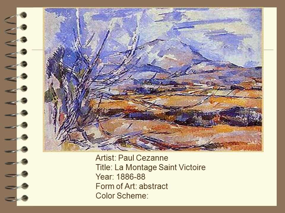 Artist: Paul Cezanne Title: La Montage Saint Victoire Year: Form of Art: abstract Color Scheme: