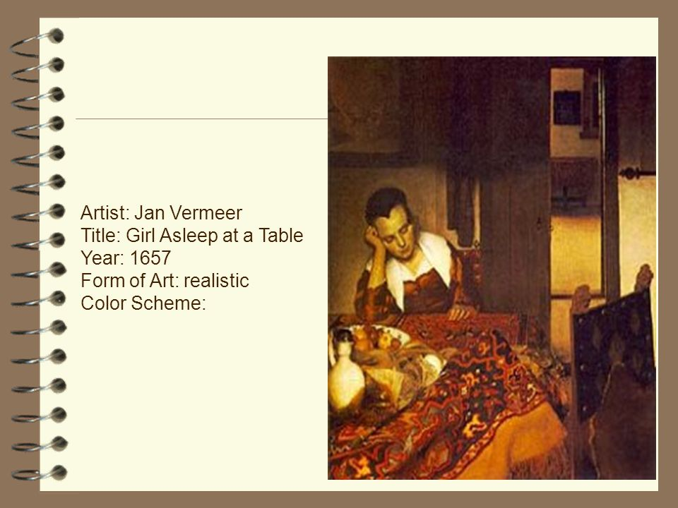 Artist: Jan Vermeer Title: Girl Asleep at a Table Year: 1657 Form of Art: realistic Color Scheme: