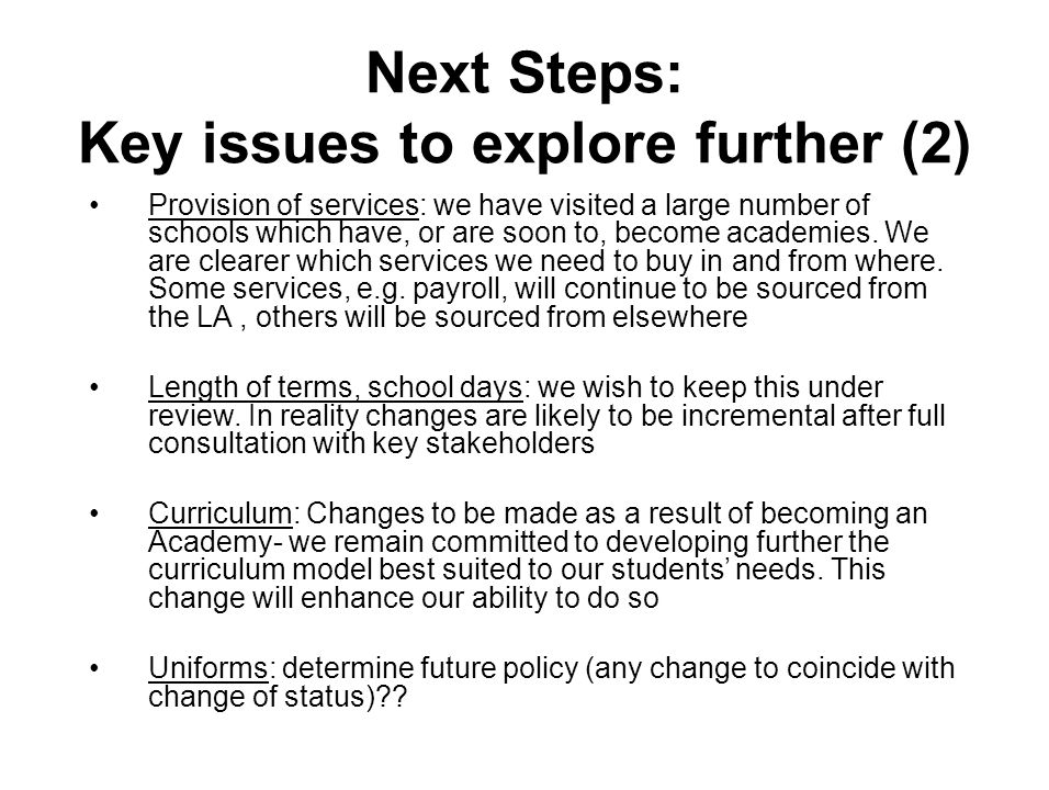 Next Steps: Key issues to explore further (2) Provision of services: we have visited a large number of schools which have, or are soon to, become academies.