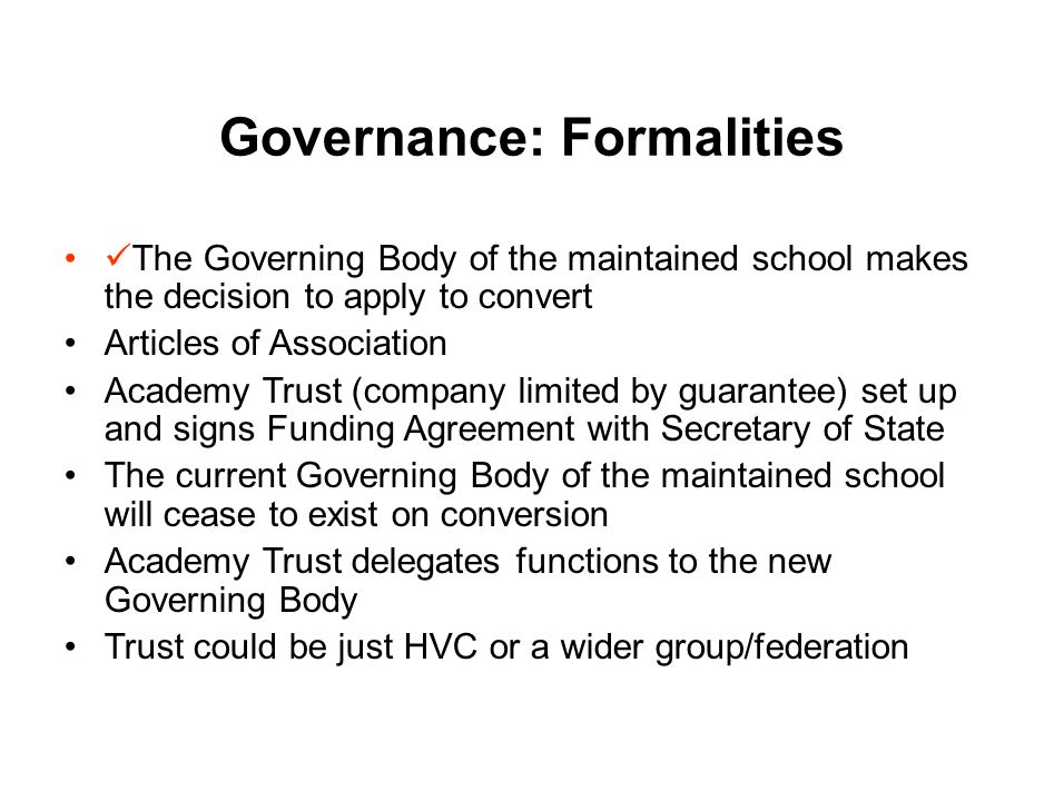 Governance: GB Proposal Governors provisionally favour the following model: An arrangement whereby the Trust comprises just the Chair, Deputy Chair and Chairs of Committees, plus Principal.