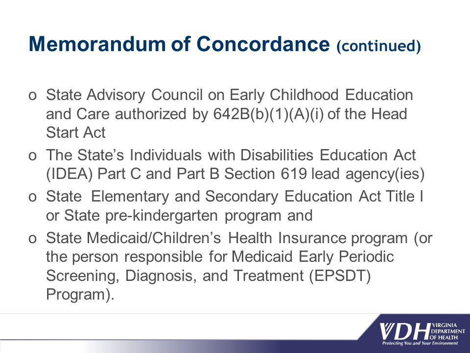 Memorandum of Concordance (continued) oState Advisory Council on Early Childhood Education and Care authorized by 642B(b)(1)(A)(i) of the Head Start Act oThe State's Individuals with Disabilities Education Act (IDEA) Part C and Part B Section 619 lead agency(ies) oState Elementary and Secondary Education Act Title I or State pre-kindergarten program and oState Medicaid/Children's Health Insurance program (or the person responsible for Medicaid Early Periodic Screening, Diagnosis, and Treatment (EPSDT) Program).