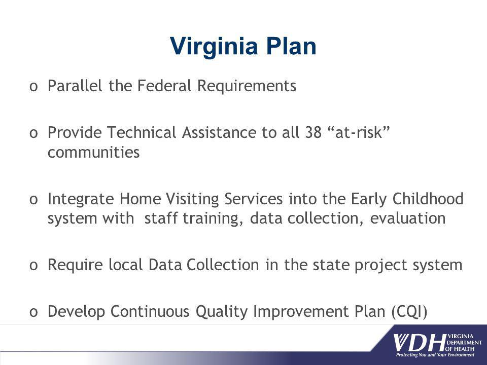 Virginia Plan oParallel the Federal Requirements oProvide Technical Assistance to all 38 at-risk communities oIntegrate Home Visiting Services into the Early Childhood system with staff training, data collection, evaluation oRequire local Data Collection in the state project system oDevelop Continuous Quality Improvement Plan (CQI)