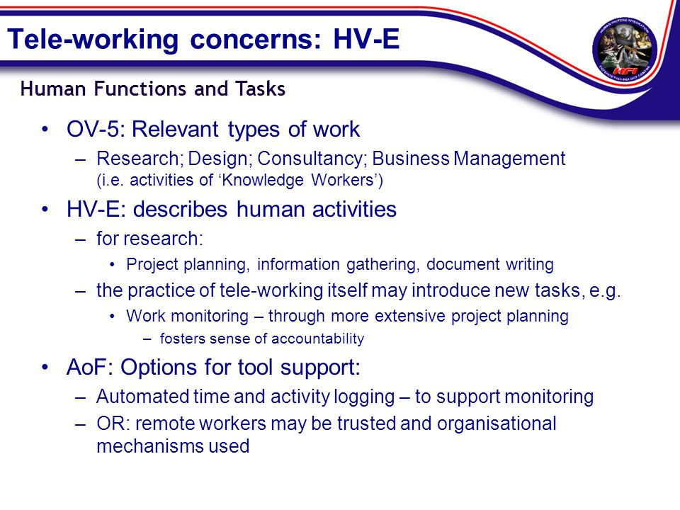 Tele-working concerns: HV-E OV-5: Relevant types of work –Research; Design; Consultancy; Business Management (i.e.