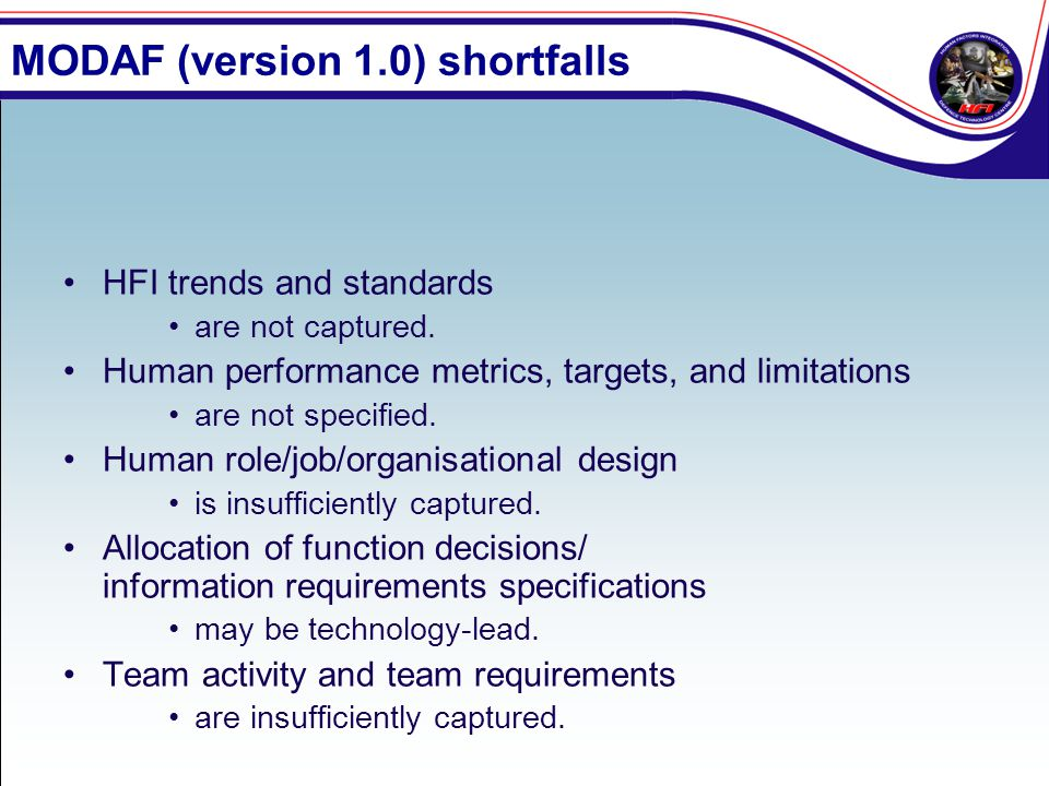 MODAF (version 1.0) shortfalls HFI trends and standards are not captured. Human performance metrics, targets, and limitations are not specified. Human