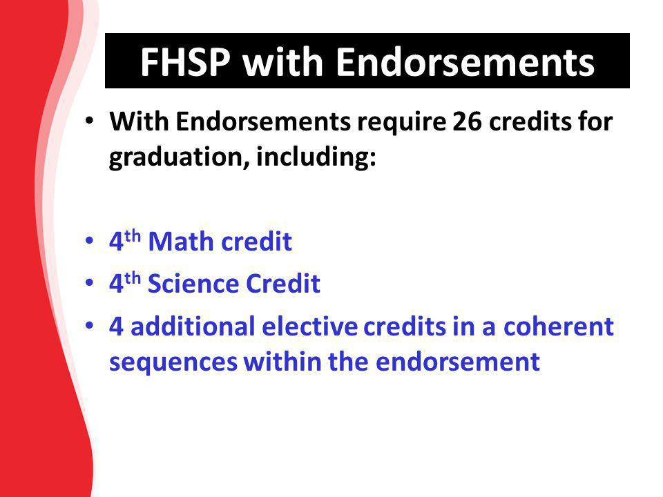 FHSP with Endorsements With Endorsements require 26 credits for graduation, including: 4 th Math credit 4 th Science Credit 4 additional elective cred