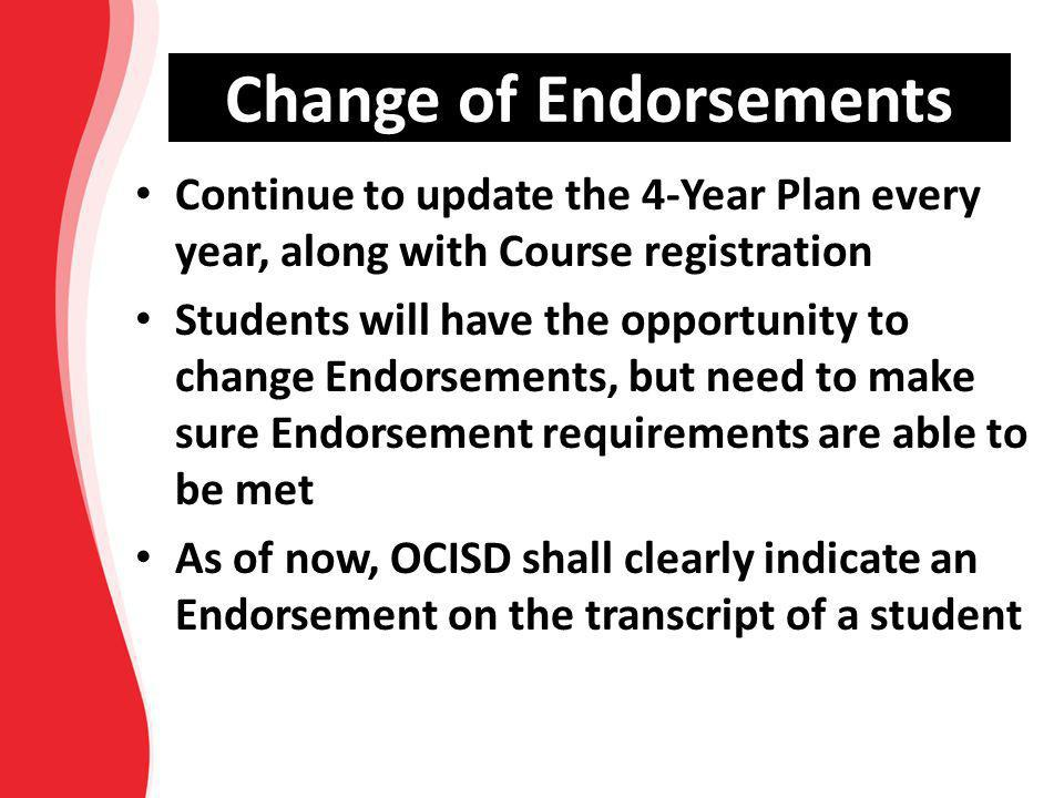 Change of Endorsements Continue to update the 4-Year Plan every year, along with Course registration Students will have the opportunity to change Endo