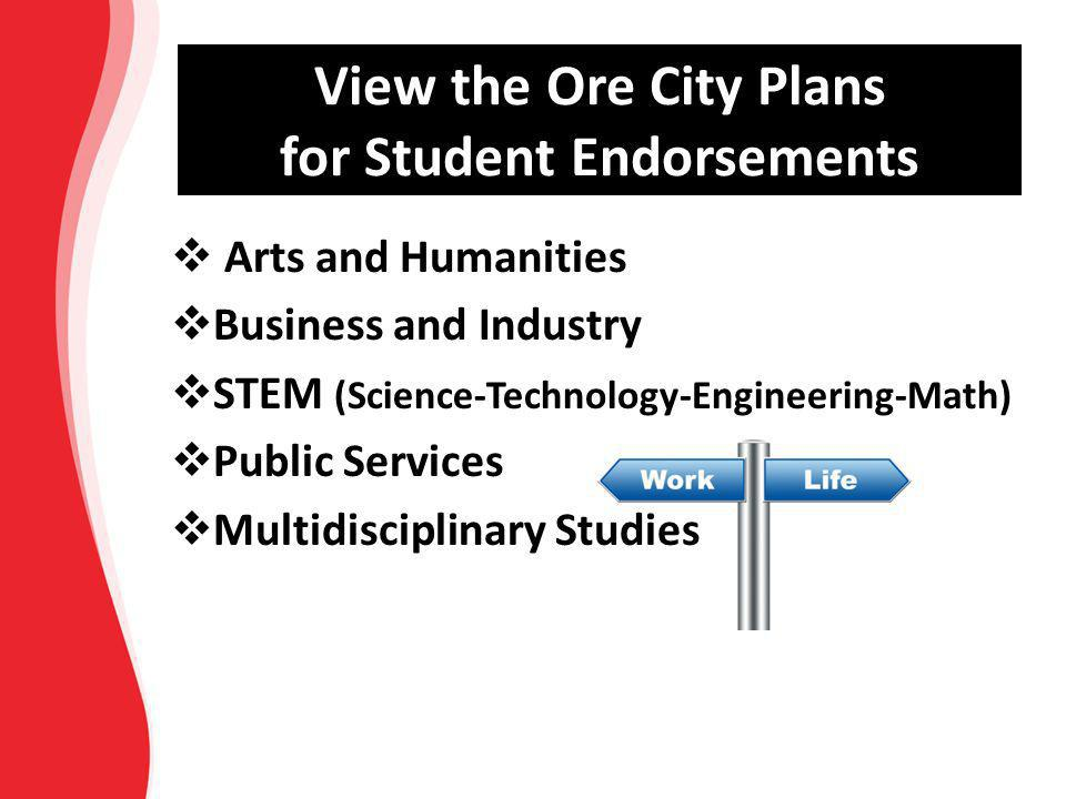 View the Ore City Plans for Student Endorsements  Arts and Humanities  Business and Industry  STEM (Science-Technology-Engineering-Math)  Public S