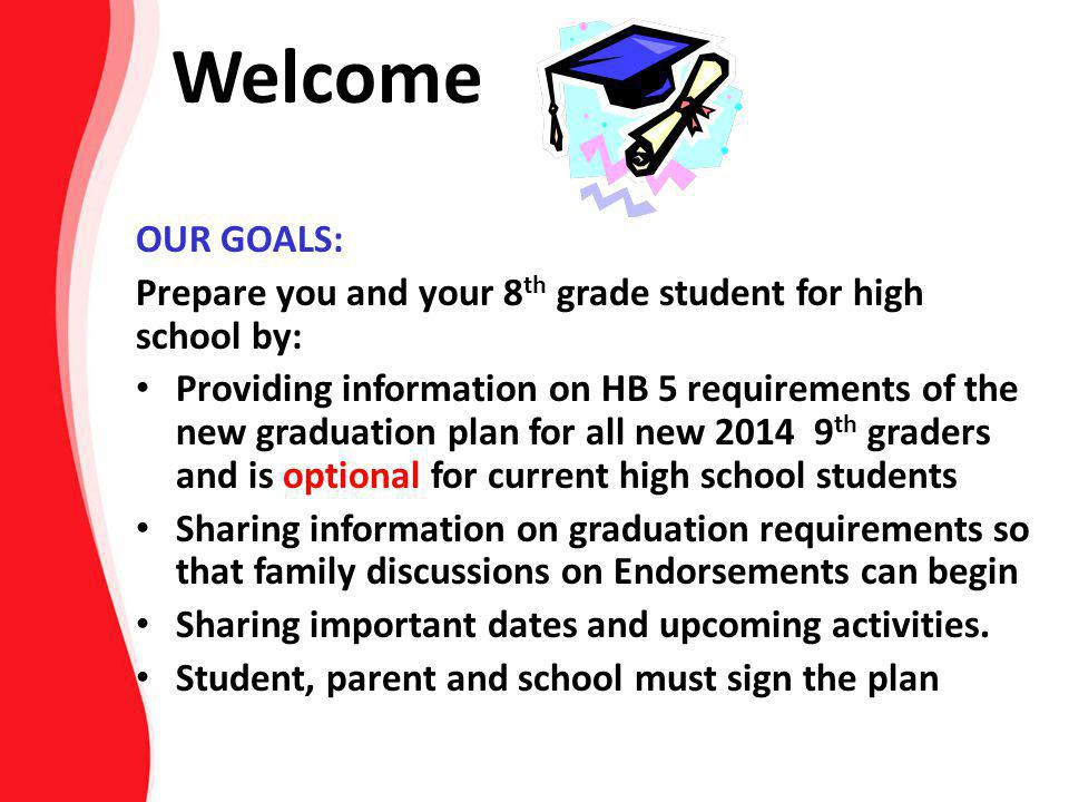OUR GOALS: Prepare you and your 8 th grade student for high school by: Providing information on HB 5 requirements of the new graduation plan for all n