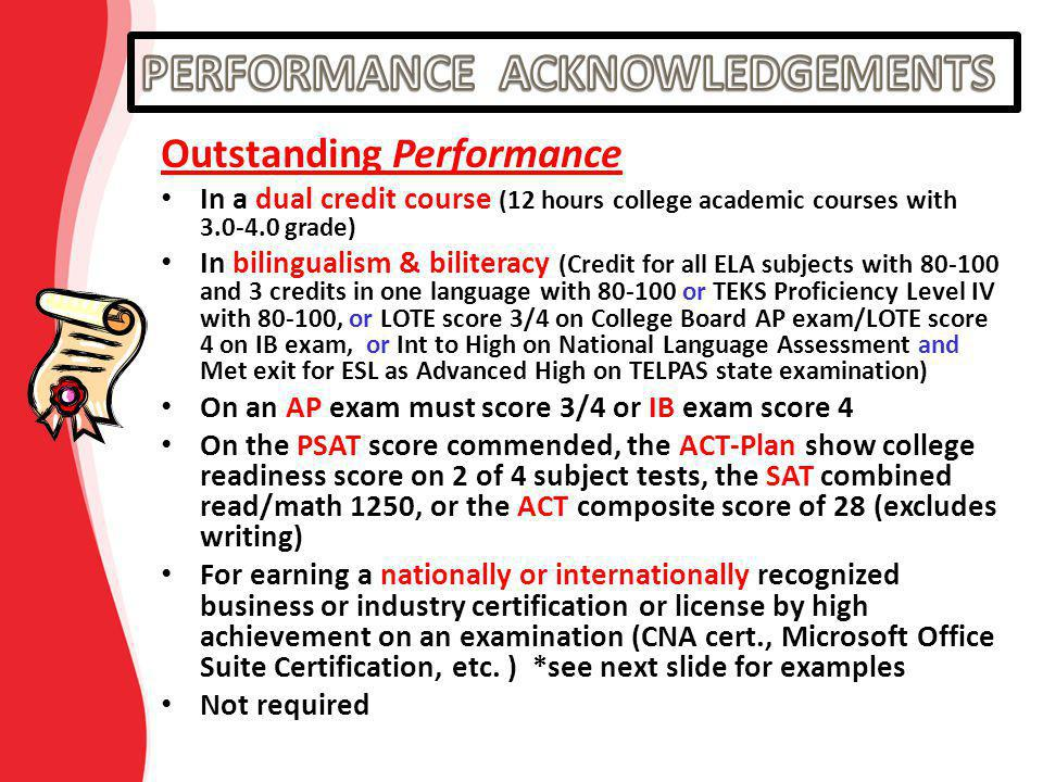 Outstanding Performance In a dual credit course (12 hours college academic courses with 3.0-4.0 grade) In bilingualism & biliteracy (Credit for all EL