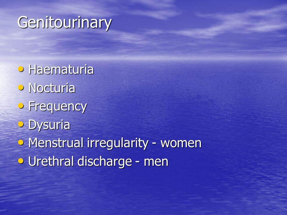 Genitourinary Genitourinary Haematuria Haematuria Nocturia Nocturia Frequency Frequency Dysuria Dysuria Menstrual irregularity - women Menstrual irreg