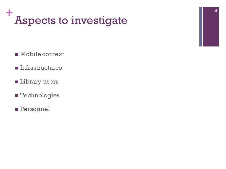 + Aspects to investigate Mobile context Infrastructures Library users Technologies Personnel 3