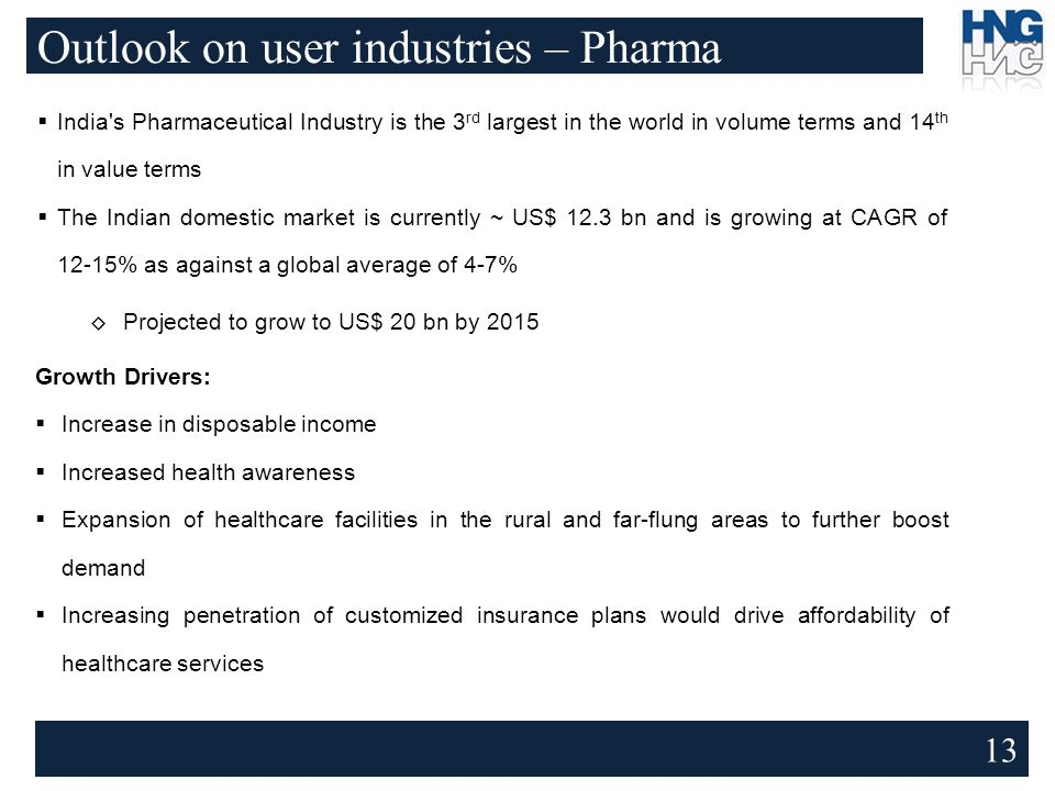 Outlook on user industries – Pharma 13  India s Pharmaceutical Industry is the 3 rd largest in the world in volume terms and 14 th in value terms  The Indian domestic market is currently ~ US$ 12.3 bn and is growing at CAGR of 12-15% as against a global average of 4-7% ◊ Projected to grow to US$ 20 bn by 2015 Growth Drivers:  Increase in disposable income  Increased health awareness  Expansion of healthcare facilities in the rural and far-flung areas to further boost demand  Increasing penetration of customized insurance plans would drive affordability of healthcare services