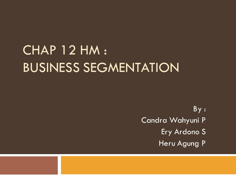 Matching Organizational Structure and Business Segmentation  Business segmentation process is applied at different hierarchical levels in organization.