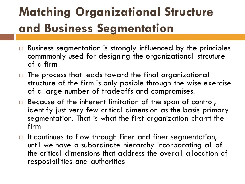 Matching Organizational Structure and Business Segmentation  Business segmentation is strongly influenced by the principles commmonly used for designing the organizational strcuture of a firm  The process that leads toward the final organizational structure of the firm is only posible through the wise exercise of a large number of tradeoffs and compromises.