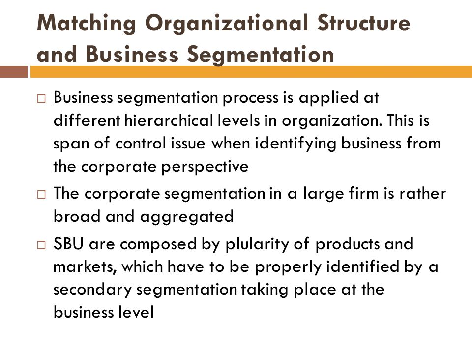 Matching Organizational Structure and Business Segmentation  Business segmentation process is applied at different hierarchical levels in organization.