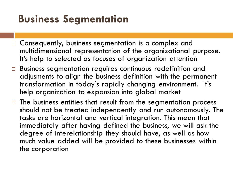  Consequently, business segmentation is a complex and multidimensional representation of the organizational purpose.