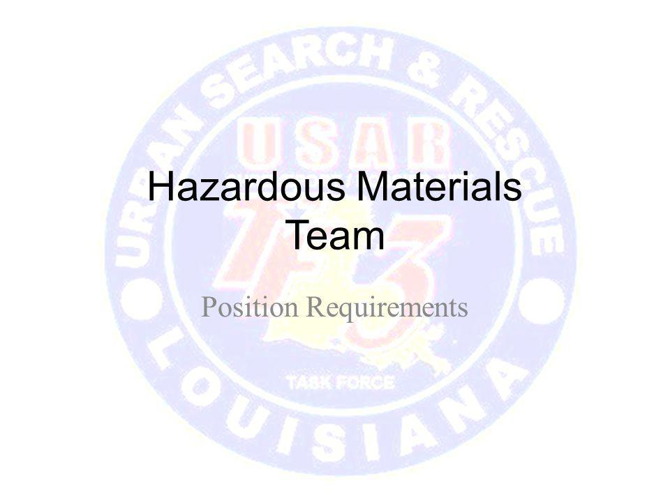 Hazardous Materials Team Position Requirements