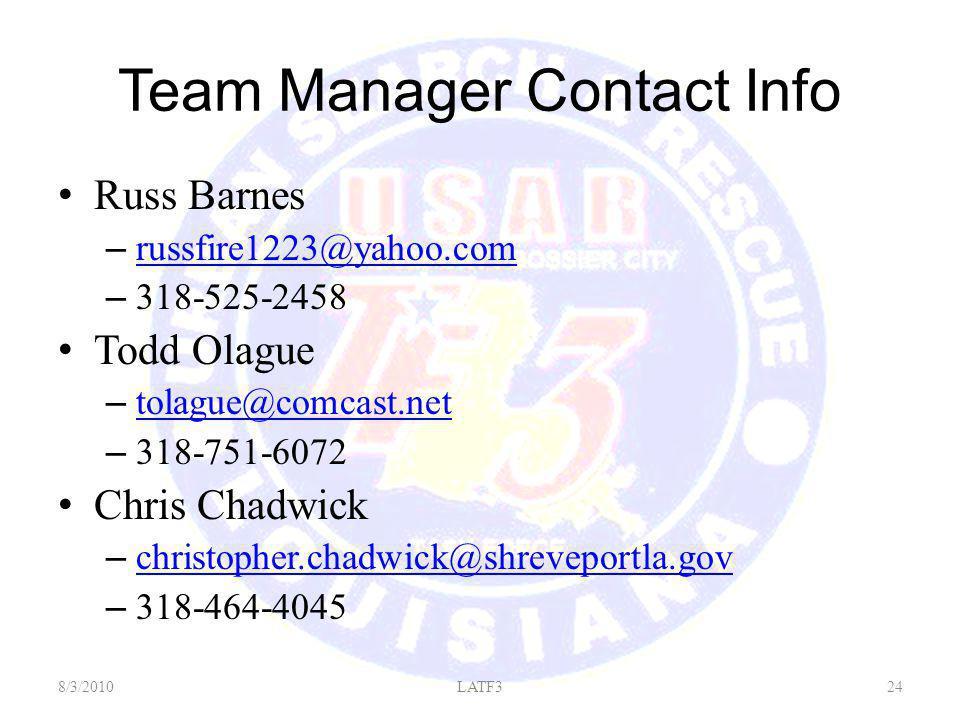 Team Manager Contact Info Russ Barnes – russfire1223@yahoo.com russfire1223@yahoo.com – 318-525-2458 Todd Olague – tolague@comcast.net tolague@comcast.net – 318-751-6072 Chris Chadwick – christopher.chadwick@shreveportla.gov christopher.chadwick@shreveportla.gov – 318-464-4045 8/3/201024LATF3