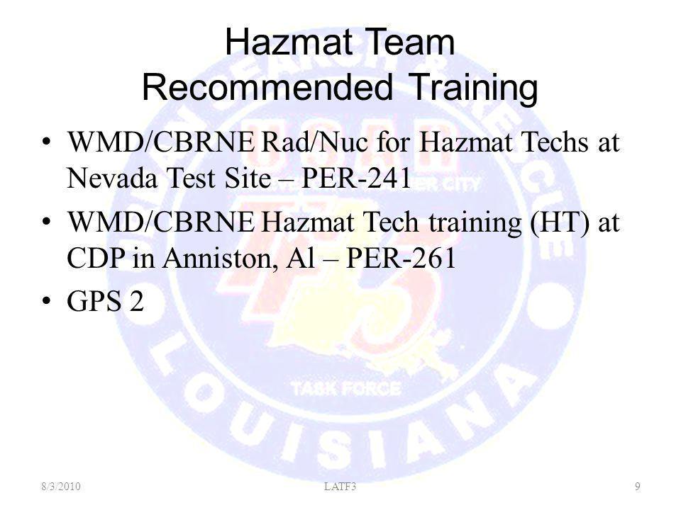 Hazmat Team Recommended Training WMD/CBRNE Rad/Nuc for Hazmat Techs at Nevada Test Site – PER-241 WMD/CBRNE Hazmat Tech training (HT) at CDP in Anniston, Al – PER-261 GPS 2 8/3/20109LATF3